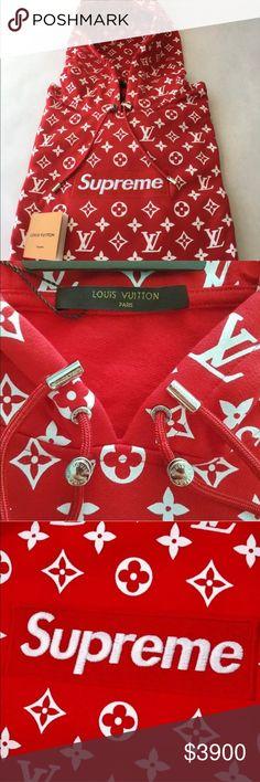 Louis Vuitton x Supreme Hoodie brand new great price Louis Vuitton Jackets    Coats Supreme Hoodie 541b2cf730a89