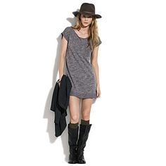 recent purchase (SO comfy and goes with everything):  Madewell, loveworn sweatshirt dress, $78