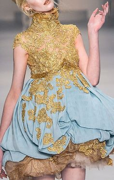 Samuel Cirnansck amazing powder blue and gold cocktail dress Looks like something Effie would wear