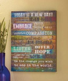 Wooden Inspirational TODAY IS A NEW DAY Wall Art Sign Plaque Room Home Decor
