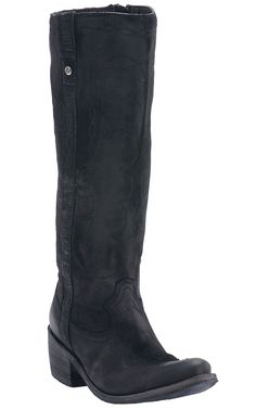 Liberty Black® Women's Black Nubuck Grease Tall Top Round Toe Western Fashion Boots