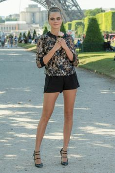 JUNE 17, 2015 In Elie Saab pleated shorts at the Paper Towns Paris photocall.