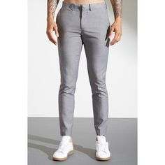 Forever21 Slim-Fit Pressed Trousers ($28) ❤ liked on Polyvore featuring men's fashion, men's clothing, men's pants, men's casual pants, grey, mens pants, mens slim pants, mens woven pants, mens zip off pants and mens polyester pants