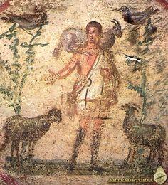 El Buen Pastor. Fresco del siglo III d.C. Arte paleocristiano. La religión y la figura de Cristo han sido temas recurrentes dentro del arte. He elegido esta pintura por ser la primera vez que se representa a Cristo.
