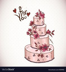 Vintage Floral Card with Wedding Cake by Depiano Editable EPS and Render in JPG format Vector Hand, Vector Free, Wedding Cake Illustrations, Valentine Day Crafts, Valentines, Cake Vector, Floral Card, Valentine's Day Outfit, Vintage Floral