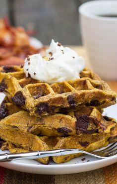 Pumpkin-Chocolate Chip Waffles