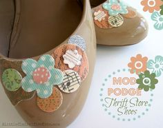 Great shoe redo with Mod Podge And some scrfap book stuff thrift store shoe revamp