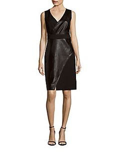 Laundry by Shelli Segal - Faux Leather Sleeveless Sheath Dress