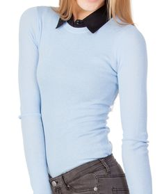 SkinnyShirt in black under light blue sweater