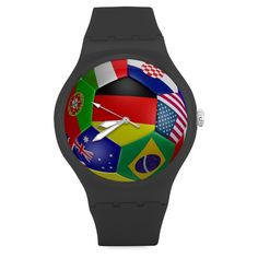 Christmas/Thanksgiving Gifts Stylish Soccer Ball All Nations' Flags Pattern Football Unisex Round Rubber Sport Quartz Watch,Watch Face Diameter: 1.58' -- See this great product.