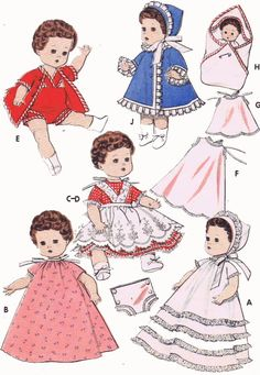 Vintage Doll Clothes PATTERN 8351 for 8 in Baby Ginger Little Miss Betsy Ginette