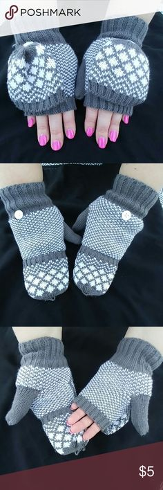 Grey and white knit mittens Grey and white knit mittens. Great condition, never worn. Accessories Gloves & Mittens