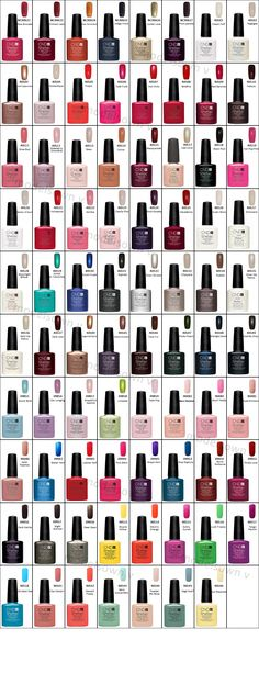 Great CND Shellac color guide Great CND Shellac color guide More from my site Here's our weekly fitness tip. Cnd Colours, Shellac Nail Colors, Cnd Nails, Gel Polish Colors, Shellac Colour Chart, Uv Gel Nails, Vinylux Nail Polish, Gel Nail Polish, Cnd Vinylux