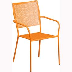 Flash Furniture Steel Patio Dining Chair with Square Back - Outdoor Dining Chairs at Hayneedle