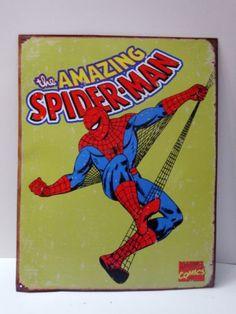 Spiderman Tin Metal Sign Marvel Comic Superhero Decor 1437 Lime Green | eBay #Spiderman #Wallart #Comic #Marvel #Superhero