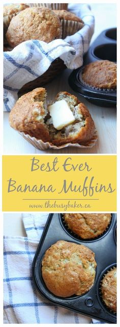 Healthy Recipes These are the best banana muffins I have ever had! And so simple to make! - These Best Ever Banana Muffins are the best banana muffins you'll ever try! And so easy to make in just one bowl! Delicious Desserts, Dessert Recipes, Yummy Food, Fall Desserts, Muffins Blueberry, Banana Muffins Applesauce, Coconut Banana Muffins, Banana Muffins 2 Bananas, Simple Banana Bread