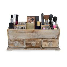 Vanity Drawer Beauty Organizer 3 Drawers Wooden Cosmetic Storage Box for Neat and Organize Storing of Makeup Tools Small Accessories at Home and Office Vanities and Bathroom Countertop Rustic ** Read more at the image link-affiliate link. Diy Makeup Organizer, Diy Makeup Storage, Make Up Organiser, Makeup Brush Holders, Cosmetic Storage, Makeup Organization, Storage Ideas, Beauty Organizer, Makeup Drawer