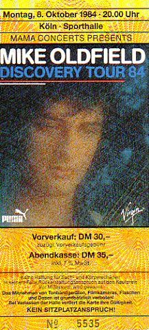 Köln 1984/10/08 Mike Oldfield, Dark Star, 1984, Dom, Tours, Music, Posters, Dortmund, Musica