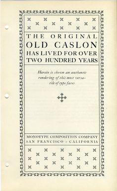 Monotype Caslon type specimen