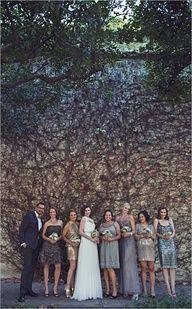 metallic bridesmaid dresses #weddings #gowns #bride #bridesmaids