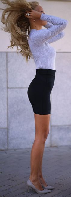 Grey + Black Mini Skirt Outfit