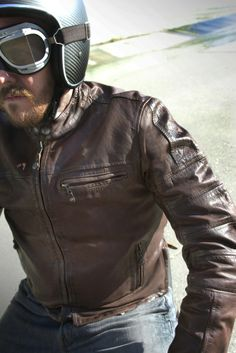 Shop for Roland Sands Ronin Leather Jacket - Tobacco. Cafe racer vintage style leather motorcycle jacket from Roland Sands Design. Free UK delivery and returns. Cafe Racer Jacket, Cafe Racer Style, Cafe Racer Motorcycle, Motorcycle Style, Motorcycle Outfit, Motorcycle Jackets, Motorcycle Leather, Men's Leather Jacket, Leather Men