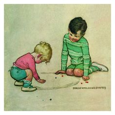 These beautifully designed greeting cards illustrated by Jessie Willcox Smith feature two rosy-cheeked little boys playing marbles. The original artwork was featured in Good Housekeeping Magazine back