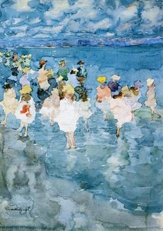 Maurice Prendergast - Children at the Beach.  Maurice Brazil Prendergast (October 10, 1858 – February 1, 1924) was an American Post-Impressionist artist who worked in oil, watercolor, and monotype.