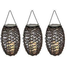 Set of 3 Paradise Solar Powered Grapevine Basket  Flameless Candle Lighting New