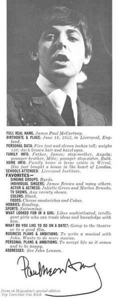 Facts about Paul McCartney on a magazine (Feb 1966)