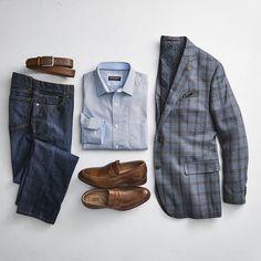 Elements of Style Gents Fashion, Best Mens Fashion, Look Fashion, Fashion Hair, Smart Casual Menswear, Men Casual, Men Warehouse, Blazer Outfits Men, Business Casual Men