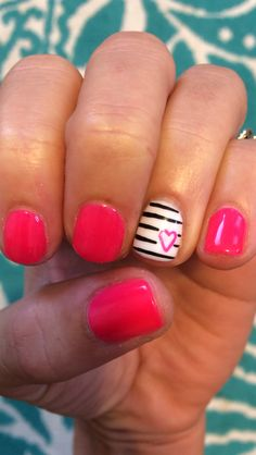 Valentines Day Gelish Nails - cute nail art design