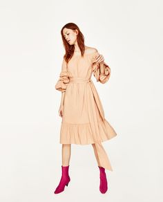 Image 1 of OFF-THE-SHOULDER POPLIN DRESS from Zara