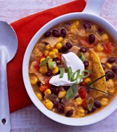 Chock-full of fresh onion, garlic, black beans, corn, and plum tomatoes. A hearty, easy to prepare soup with a spanish kick!