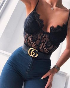 Cryptographic Fashion Mesh Sheer Lace Bodysuit 2019 Summer Hollow Out Straps Bralette Bodysuits Teddy Streetwear Women Tops Chic 33 Cute Casual Outfits, Stylish Outfits, Summer Outfits, Clubbing Outfits With Jeans, Clubbing Clothes, Mode Outfits, Girl Outfits, Fashion Outfits, Style Fashion