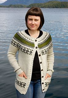 Color-work cardigan knitting pattern on ravelry