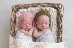 This is the sweetest little twin set of bonnets. The same pattern has been used for both hats making it an ideal set to use for boy/girl twins or just to improve a prop stash for both sexes at once.  Sizing is up to 3 months.  The colouring is a light dusky pink for the girl bonnet and olive green for the boy bonnet.  Should you wish to purchase just one of these bonnets, please contact me for a custom listing.  PHOTO CREDIT : Thank you so much to Andrea Mackey Photography for this gorge...
