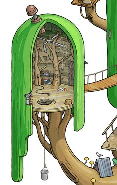 Exploring Land of Ooo. Inside the Tree Fort. on Behance