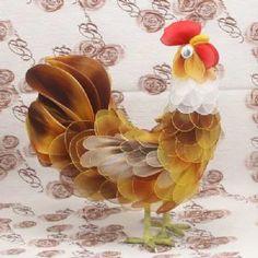 Handmade nylon product, wires and Nylon, Hen, 1 Animal, 22cm x 10cm x 23cm, [SW070]