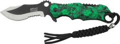 MTech USA MT-A808GN Assisted Opening Folding Knife, Two-Tone Half-Serrated Blade, Green Skull Camo Handle, 4-3/4-Inch Closed -- Click image to review more details.