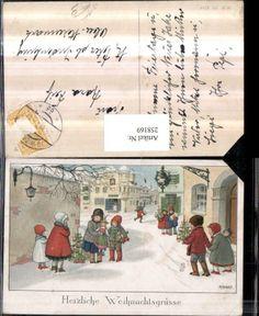 258169,Künstler AK Pauli Ebner Weihnachten Kinder Straße Spielzeug Puppen Weihna