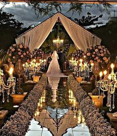 Glamorous Wedding Venues Couples nowadays are often looking to stand out with their wedding. Gone are the days where everyone dreamed of having a big white fairytale; Wedding Stage, Wedding Goals, Wedding Themes, Wedding Designs, Destination Wedding, Wedding Venues, Wedding Planning, Wedding Decorations, Wedding Lighting