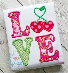Love Cherries Applique - 4 Sizes!   What's New   Machine Embroidery Designs   SWAKembroidery.com Creative Appliques