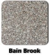 """Bain Brook Brown  $30.00 per sf installed with minimum 46sf also Free UM sink Free 3 edge detail a) 1/4"""" bevel b) 1/4"""" radius c) eased Free 15 year sealer warranty Free attachment of sink to a countertops Free attachment of dishwasher to a countertops"""