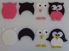 How to assemble fondant owl. How to assemble fondant owl. Fondant Figures, Clay Figures, Polymer Clay Animals, Polymer Clay Crafts, Felt Crafts, Fondant Toppers, Fondant Cakes, Cupcake Toppers, Owl Cakes