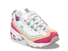 A favorite sneaker gets fun and fashionable color upgrades in the SKECHERS D'Lites - Second Chance shoe. Smooth leather, suede and mesh fabric upper in a lace up sporty casual sneaker with stitching and overlay accents. Casual Sneakers, Air Max Sneakers, Pink Sneakers, Memory Foam, Skechers D Lites, Women Oxford Shoes, Shoes Women, Joggers Womens, Clearance Shoes