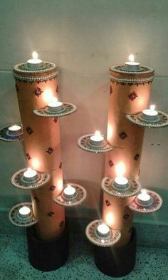 Spectacular Diwali DIY Decoration Ideas (You To Do It Be .- Spectacular Diwali DIY Decoration Ideas (You are trying to do) - Diya Decoration Ideas, Ganpati Decoration At Home, Diwali Decorations At Home, Decor Ideas, Cd Decor, Decor Diy, Home Decoration, Decorating Ideas, Ganapati Decoration