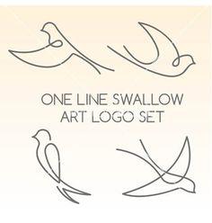 One line swallow art logo set vector: