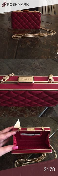 "Michael Kors Quilted Leather Box Clutch Dark Red Michael Kors Elsie Leather Quilted Box Clutch Dark Red. BRAND NEW W/ TAGS. Approximately 6""x4""X 1 1/4"". Detachable gold chain. Approximately 24"" drop. Includes dust bag KORS Michael Kors Bags Clutches & Wristlets"