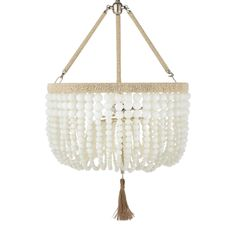"""The Ro Sham Beaux Malibu chandelier's contemporary design dazzles with natural elements. Cascading milk white glass beads surround the light fixture's hemp-wrapped frame for eclectic glam. Steel frame Accepts two 60-watt type B bulbs (included) Clear cord Hardwired Lightly dust to clean Cord and chain: 36""""L"""